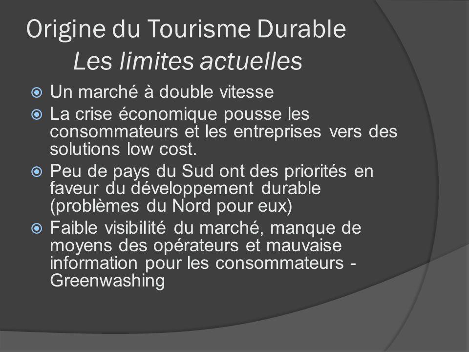 Origine du Tourisme Durable Les limites actuelles Un marché à double vitesse La crise économique pousse les consommateurs et les entreprises vers des
