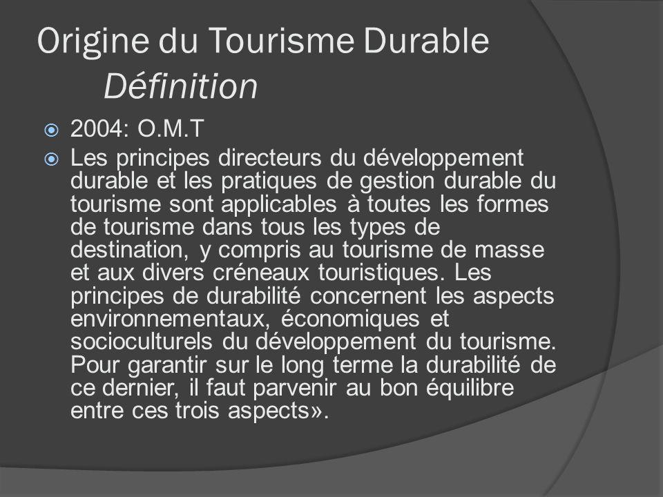 Origine du Tourisme Durable Définition 2004: O.M.T Les principes directeurs du développement durable et les pratiques de gestion durable du tourisme s
