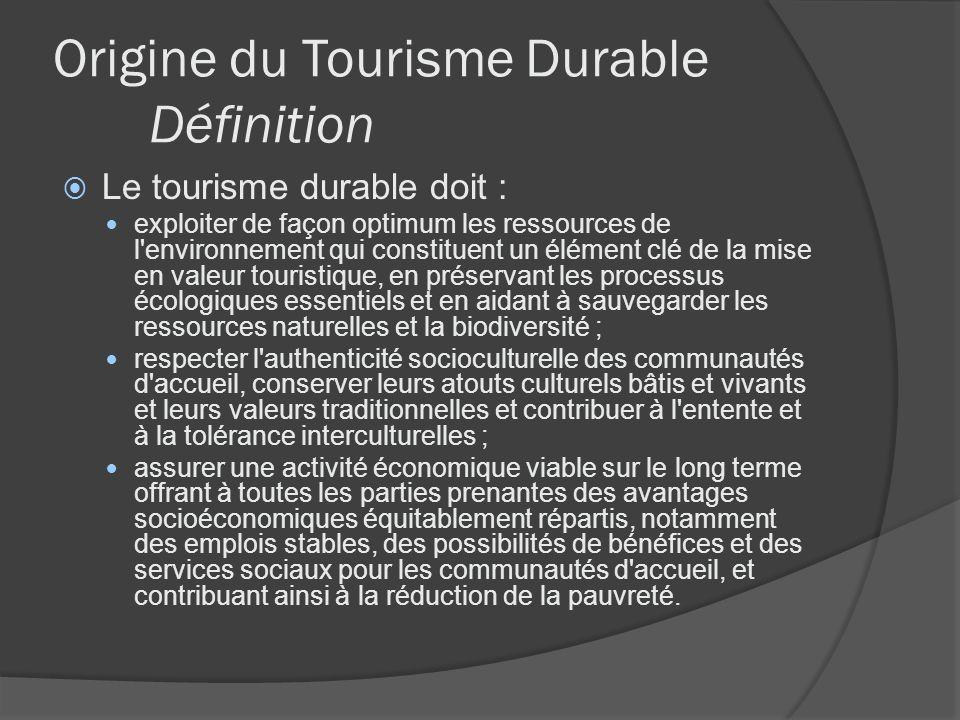 Origine du Tourisme Durable Définition Le tourisme durable doit : exploiter de façon optimum les ressources de l'environnement qui constituent un élém