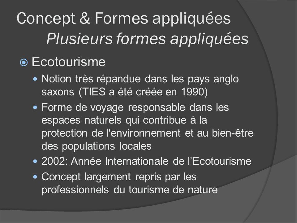 Concept & Formes appliquées Plusieurs formes appliquées Ecotourisme Notion très répandue dans les pays anglo saxons (TIES a été créée en 1990) Forme d