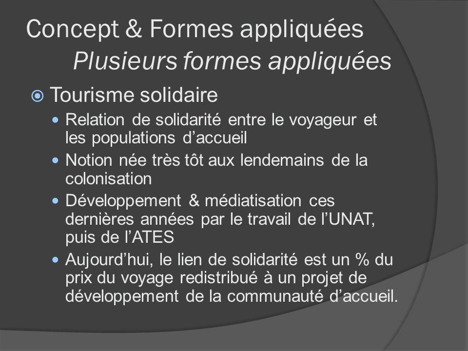 Concept & Formes appliquées Plusieurs formes appliquées Tourisme solidaire Relation de solidarité entre le voyageur et les populations daccueil Notion