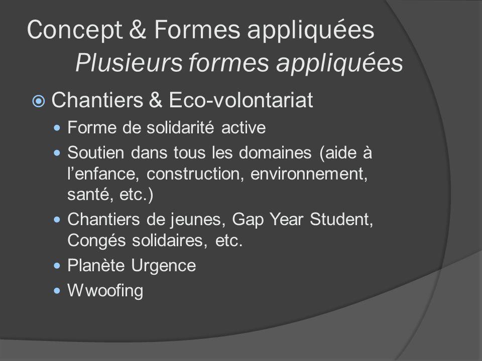 Concept & Formes appliquées Plusieurs formes appliquées Chantiers & Eco-volontariat Forme de solidarité active Soutien dans tous les domaines (aide à