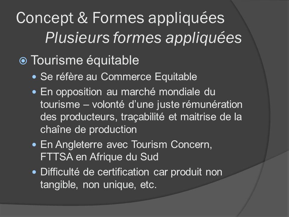Concept & Formes appliquées Plusieurs formes appliquées Tourisme équitable Se réfère au Commerce Equitable En opposition au marché mondiale du tourism