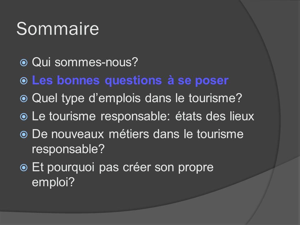 Les bonnes questions à se poser Bonnes questions Pourquoi je souhaite entrer dans les métiers du tourisme.