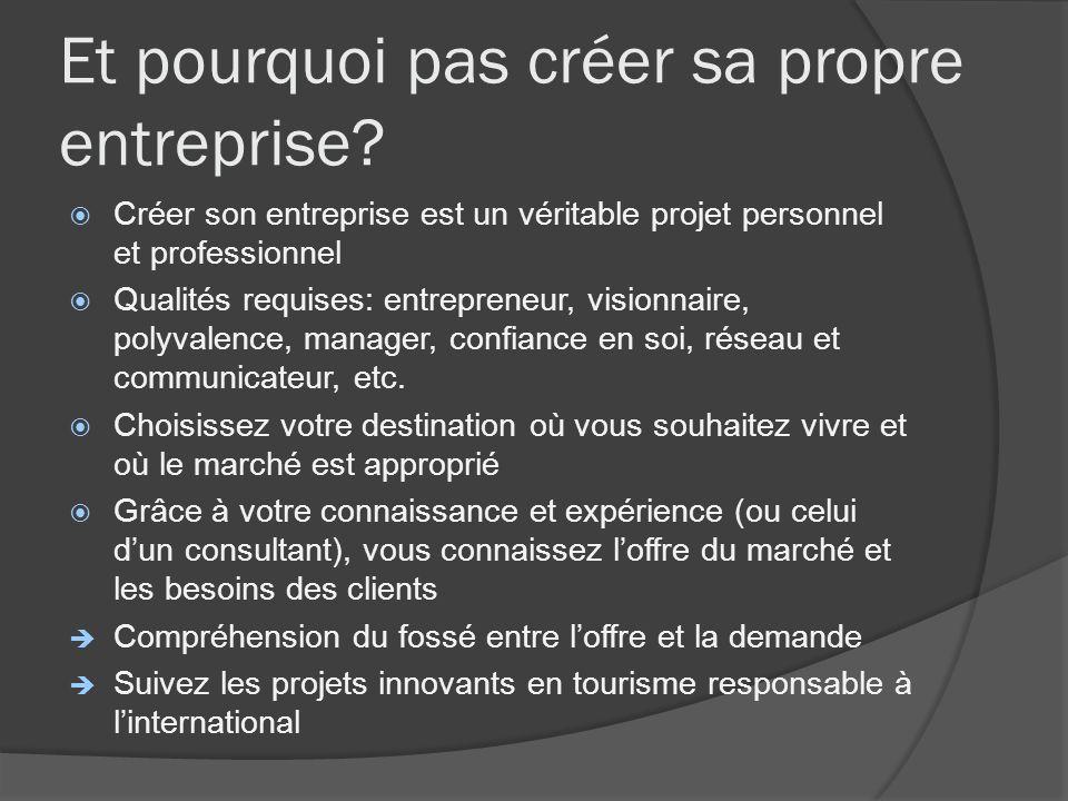 Et pourquoi pas créer sa propre entreprise? Créer son entreprise est un véritable projet personnel et professionnel Qualités requises: entrepreneur, v
