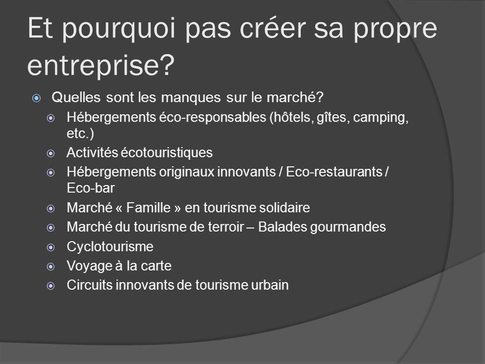 Et pourquoi pas créer sa propre entreprise? Quelles sont les manques sur le marché? Hébergements éco-responsables (hôtels, gîtes, camping, etc.) Activ