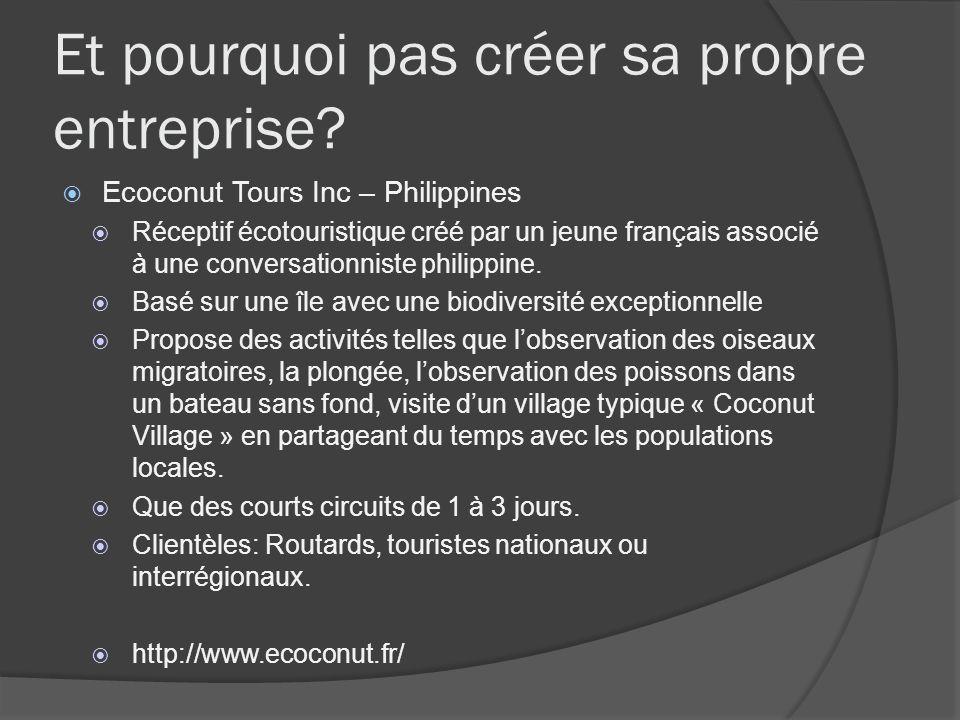 Et pourquoi pas créer sa propre entreprise? Ecoconut Tours Inc – Philippines Réceptif écotouristique créé par un jeune français associé à une conversa