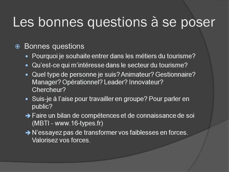 Les bonnes questions à se poser Bonnes questions Pourquoi je souhaite entrer dans les métiers du tourisme? Quest-ce qui mintéresse dans le secteur du