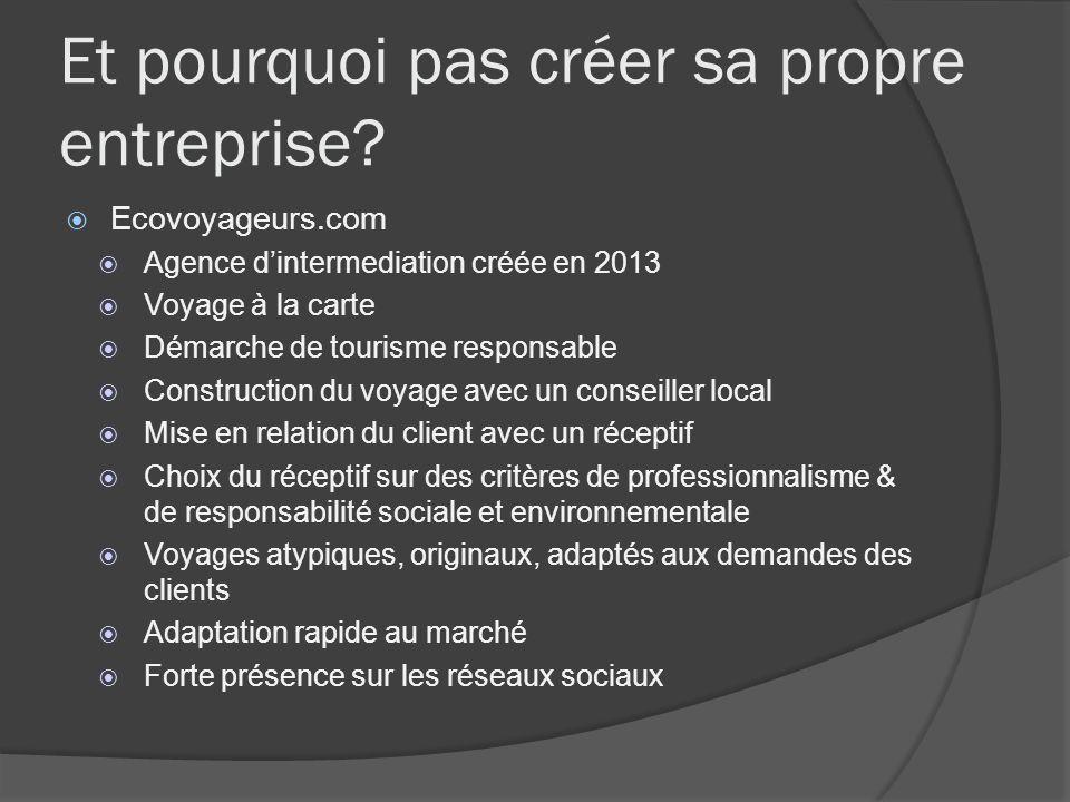 Et pourquoi pas créer sa propre entreprise? Ecovoyageurs.com Agence dintermediation créée en 2013 Voyage à la carte Démarche de tourisme responsable C