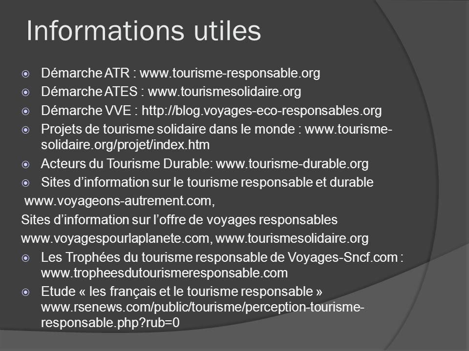 Informations utiles Démarche ATR : www.tourisme-responsable.org Démarche ATES : www.tourismesolidaire.org Démarche VVE : http://blog.voyages-eco-respo