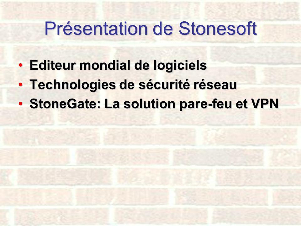 Présentation de Stonesoft Editeur mondial de logicielsEditeur mondial de logiciels Technologies de sécurité réseauTechnologies de sécurité réseau Ston