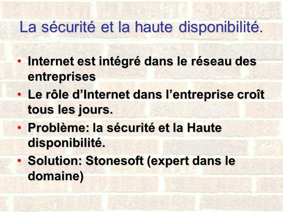 La sécurité et la haute disponibilité. Internet est intégré dans le réseau des entreprisesInternet est intégré dans le réseau des entreprises Le rôle