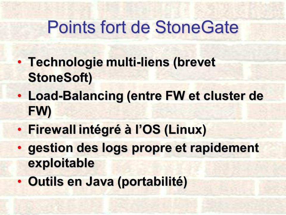 Points fort de StoneGate Technologie multi-liens (brevet StoneSoft)Technologie multi-liens (brevet StoneSoft) Load-Balancing (entre FW et cluster de F