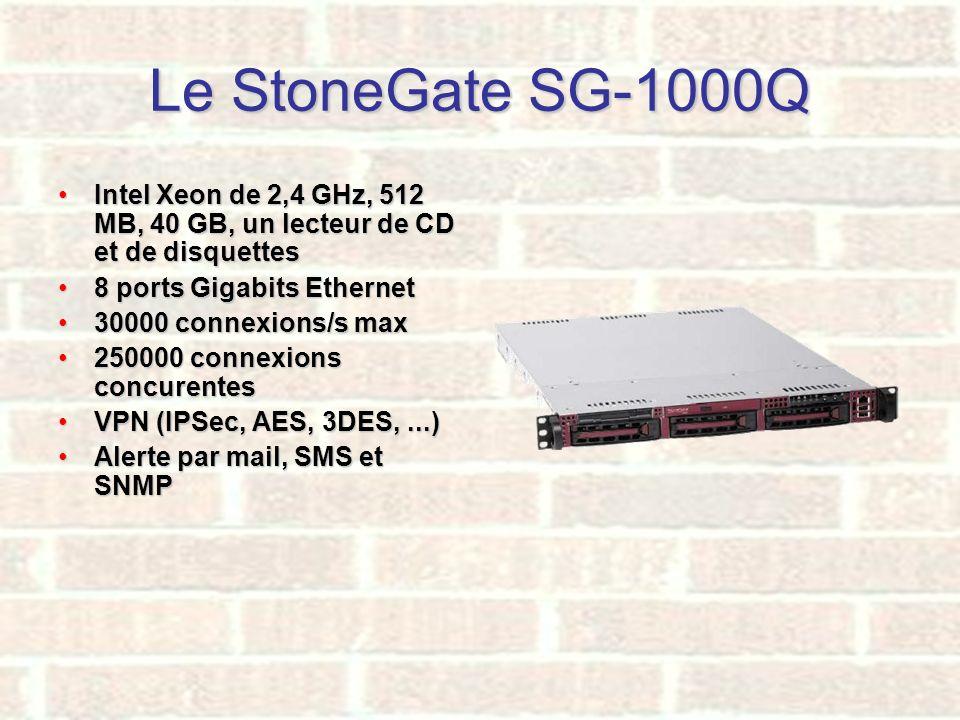 Le StoneGate SG-1000Q Intel Xeon de 2,4 GHz, 512 MB, 40 GB, un lecteur de CD et de disquettesIntel Xeon de 2,4 GHz, 512 MB, 40 GB, un lecteur de CD et