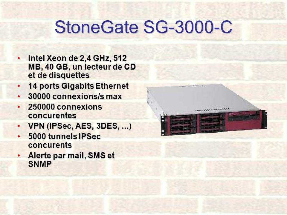 StoneGate SG-3000-C Intel Xeon de 2,4 GHz, 512 MB, 40 GB, un lecteur de CD et de disquettesIntel Xeon de 2,4 GHz, 512 MB, 40 GB, un lecteur de CD et d