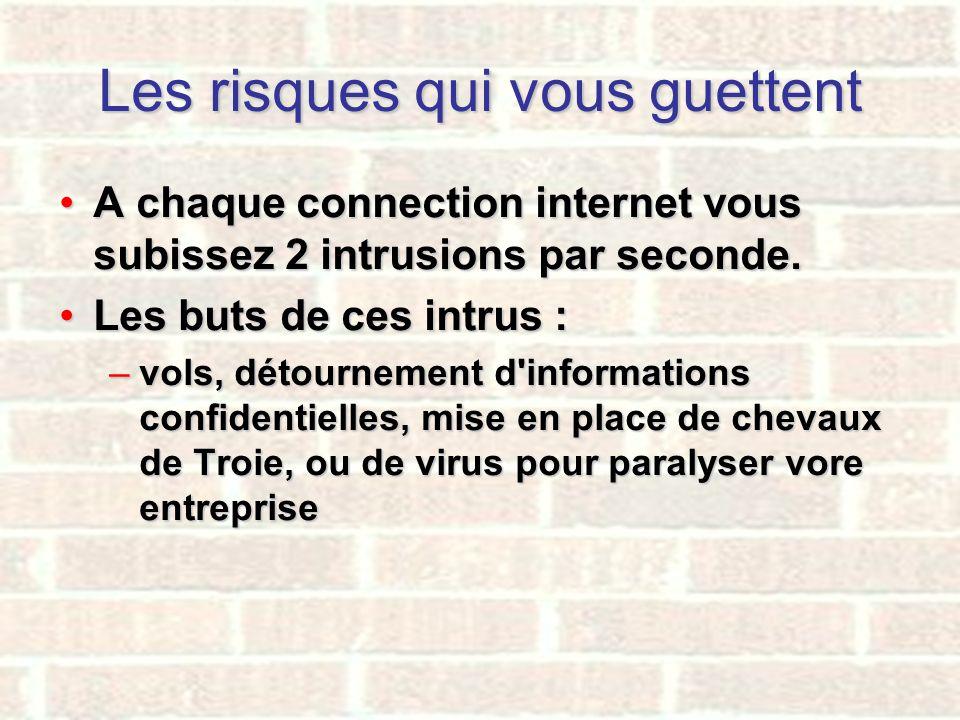 Les risques qui vous guettent A chaque connection internet vous subissez 2 intrusions par seconde.A chaque connection internet vous subissez 2 intrusi