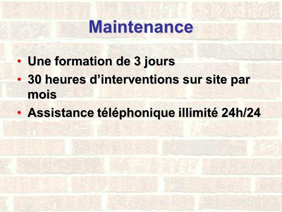 Maintenance Une formation de 3 joursUne formation de 3 jours 30 heures dinterventions sur site par mois30 heures dinterventions sur site par mois Assi