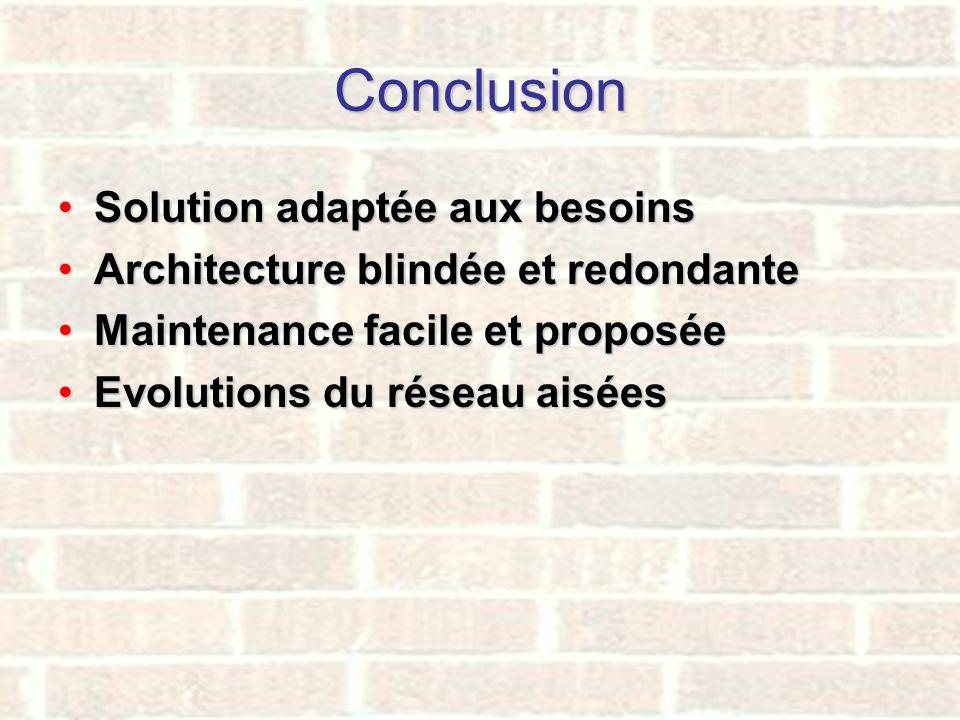 Conclusion Solution adaptée aux besoinsSolution adaptée aux besoins Architecture blindée et redondanteArchitecture blindée et redondante Maintenance f