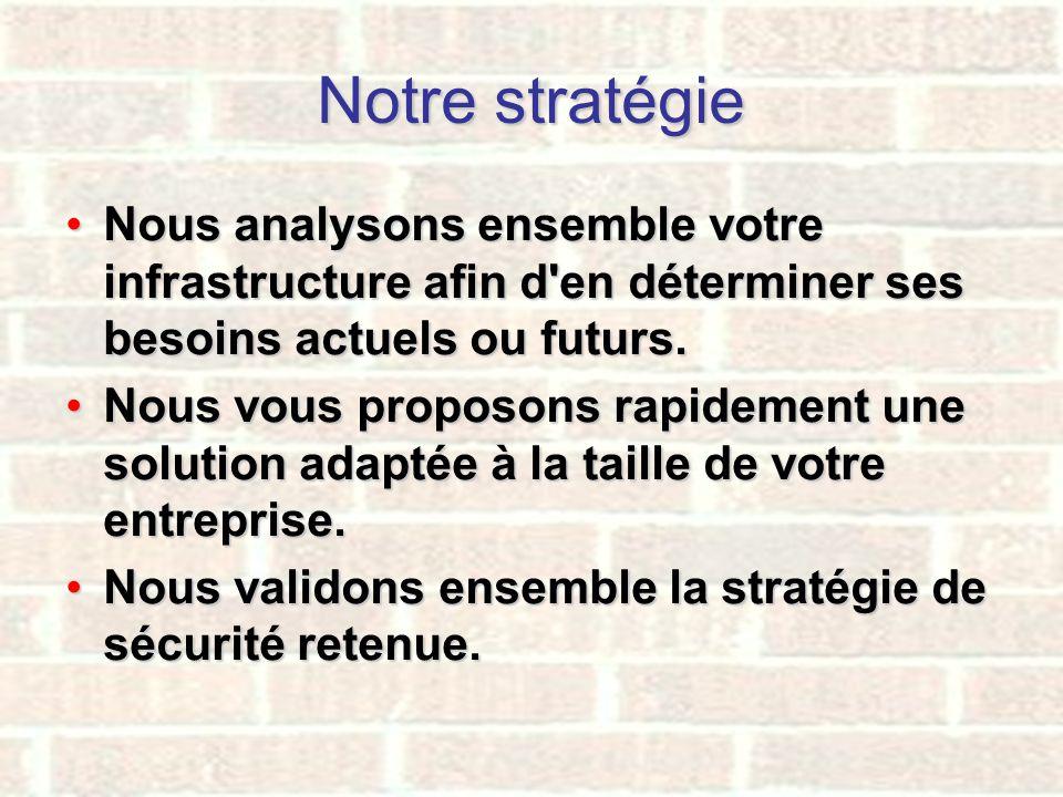 Notre stratégie Nous analysons ensemble votre infrastructure afin d'en déterminer ses besoins actuels ou futurs.Nous analysons ensemble votre infrastr