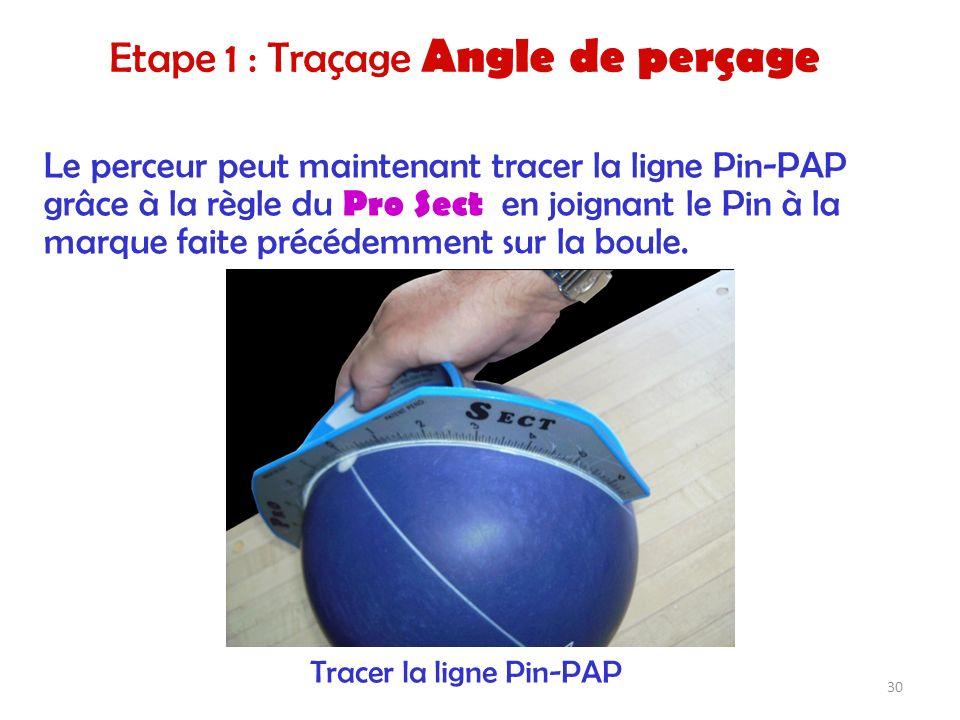 Le perceur peut maintenant tracer la ligne Pin-PAP grâce à la règle du Pro Sect en joignant le Pin à la marque faite précédemment sur la boule. Tracer