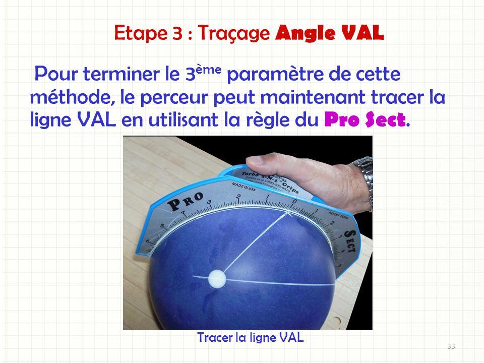 Pour terminer le 3 ème paramètre de cette méthode, le perceur peut maintenant tracer la ligne VAL en utilisant la règle du Pro Sect. Tracer la ligne V