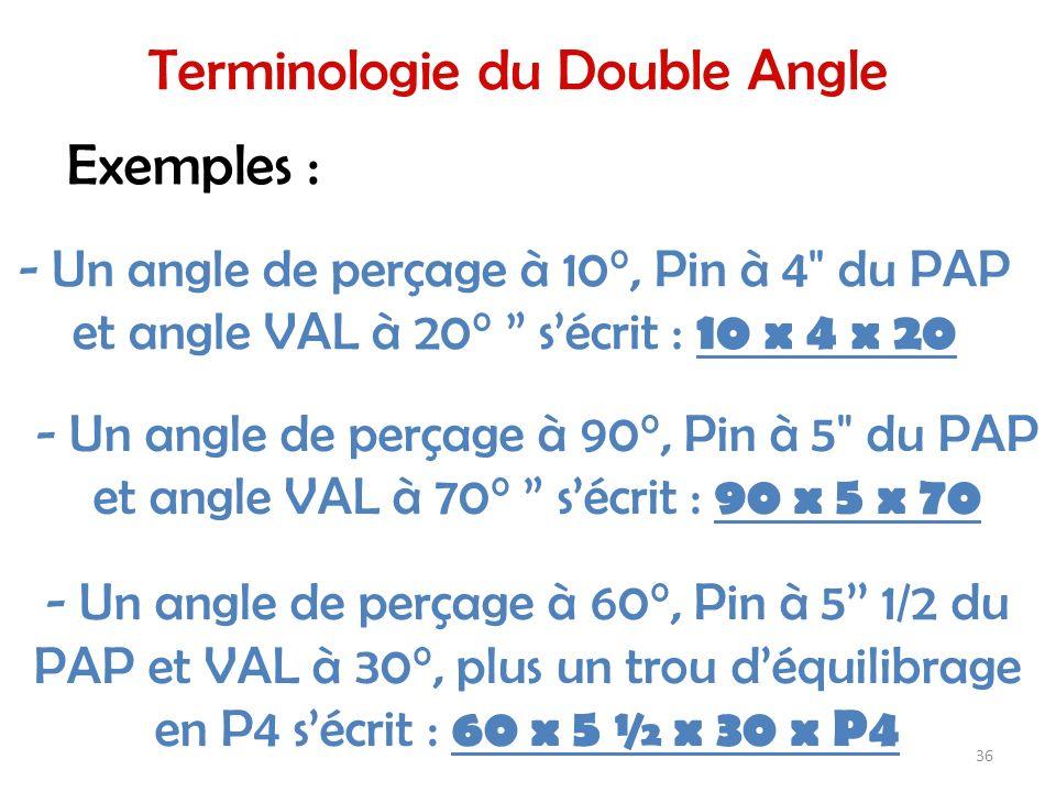 - Un angle de perçage à 10°, Pin à 4