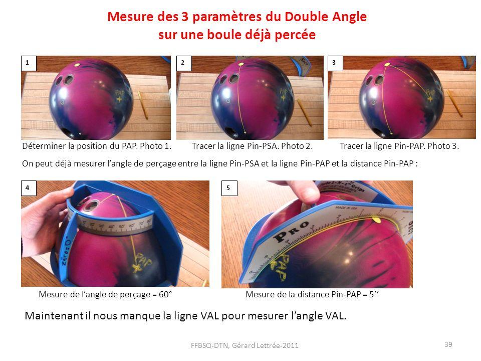 Mesure des 3 paramètres du Double Angle sur une boule déjà percée Déterminer la position du PAP. Photo 1. Tracer la ligne Pin-PSA. Photo 2. Tracer la