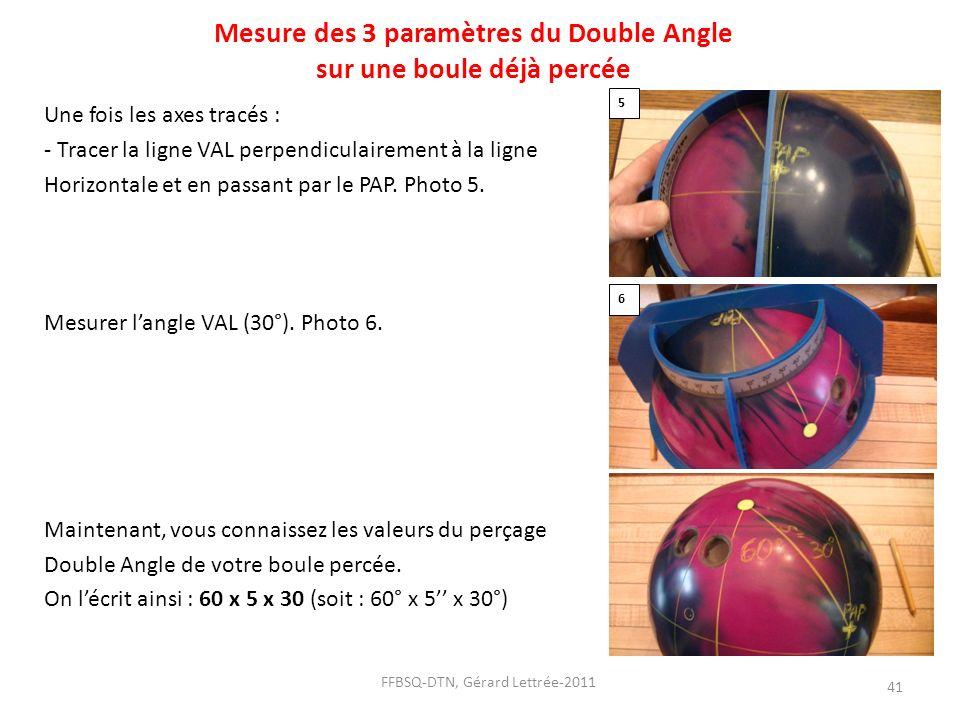 Mesure des 3 paramètres du Double Angle sur une boule déjà percée Une fois les axes tracés : - Tracer la ligne VAL perpendiculairement à la ligne Hori