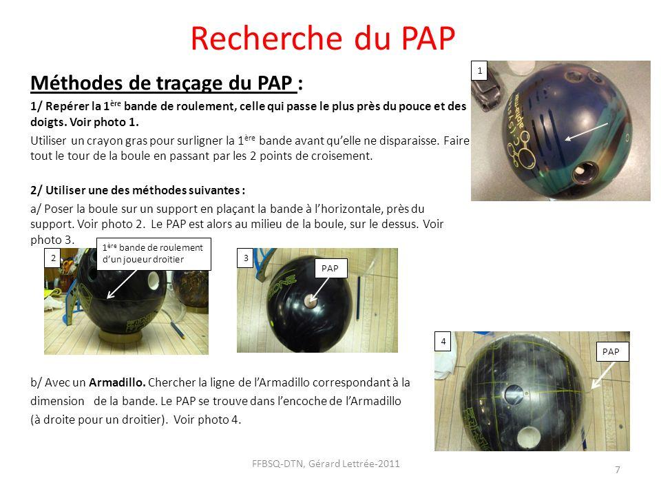 Recherche du PAP Méthodes de traçage du PAP : 1/ Repérer la 1 ère bande de roulement, celle qui passe le plus près du pouce et des doigts. Voir photo