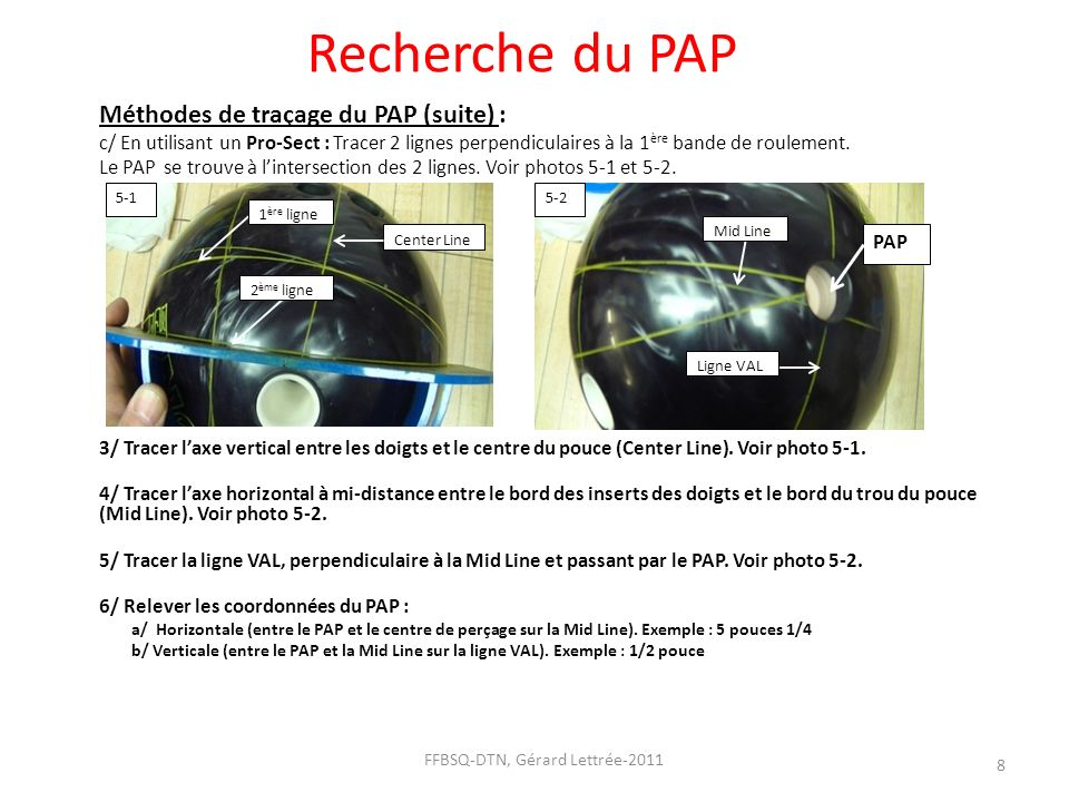 Recherche du PAP Méthodes de traçage du PAP (suite) : c/ En utilisant un Pro-Sect : Tracer 2 lignes perpendiculaires à la 1 ère bande de roulement. Le