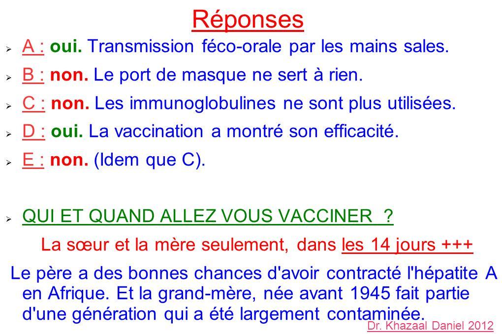 Réponses A : oui. Transmission féco-orale par les mains sales. B : non. Le port de masque ne sert à rien. C : non. Les immunoglobulines ne sont plus u