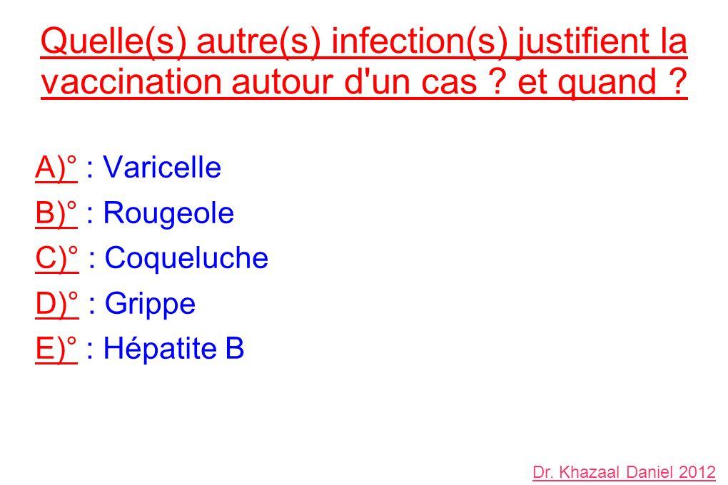 A)° : Varicelle B)° : Rougeole C)° : Coqueluche D)° : Grippe E)° : Hépatite B Quelle(s) autre(s) infection(s) justifient la vaccination autour d un cas .