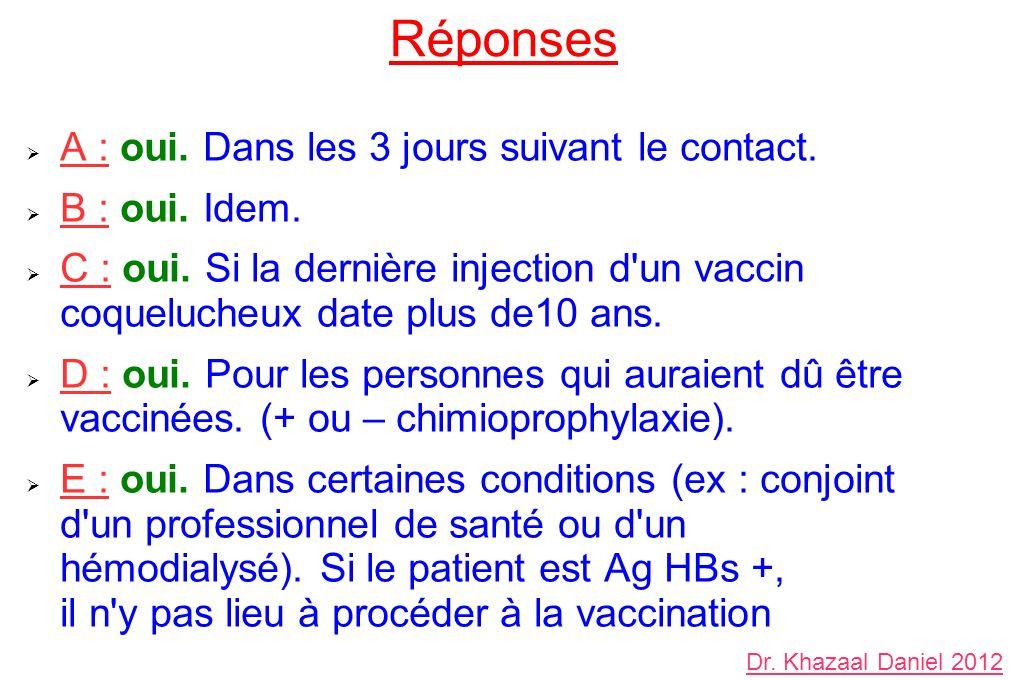 A : oui. Dans les 3 jours suivant le contact. B : oui. Idem. C : oui. Si la dernière injection d'un vaccin coquelucheux date plus de10 ans. D : oui. P