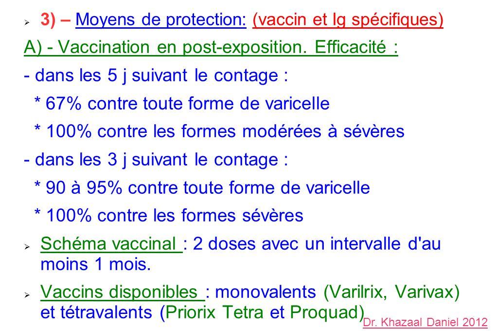 3) – Moyens de protection: (vaccin et Ig spécifiques) A) - Vaccination en post-exposition. Efficacité : - dans les 5 j suivant le contage : * 67% cont