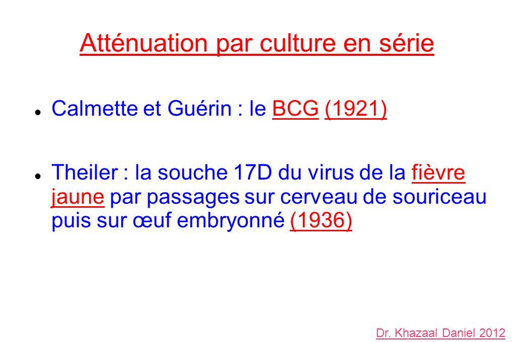 Atténuation par culture en série Calmette et Guérin : le BCG (1921) Theiler : la souche 17D du virus de la fièvre jaune par passages sur cerveau de souriceau puis sur œuf embryonné (1936) Dr.