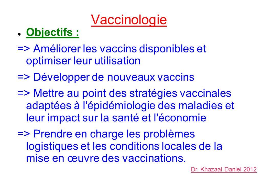 Vaccinologie Objectifs : => Améliorer les vaccins disponibles et optimiser leur utilisation => Développer de nouveaux vaccins => Mettre au point des s