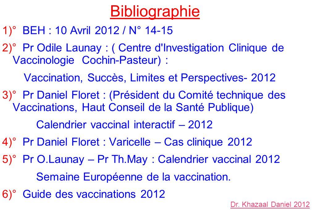 Bibliographie 1)° BEH : 10 Avril 2012 / N° 14-15 2)° Pr Odile Launay : ( Centre d Investigation Clinique de Vaccinologie Cochin-Pasteur) : Vaccination, Succès, Limites et Perspectives- 2012 3)° Pr Daniel Floret : (Président du Comité technique des Vaccinations, Haut Conseil de la Santé Publique) Calendrier vaccinal interactif – 2012 4)° Pr Daniel Floret : Varicelle – Cas clinique 2012 5)° Pr O.Launay – Pr Th.May : Calendrier vaccinal 2012 Semaine Européenne de la vaccination.