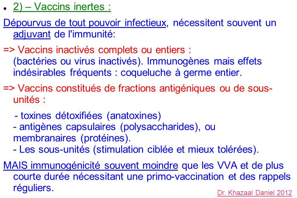 2) – Vaccins inertes : Dépourvus de tout pouvoir infectieux, nécessitent souvent un adjuvant de l'immunité: => Vaccins inactivés complets ou entiers :