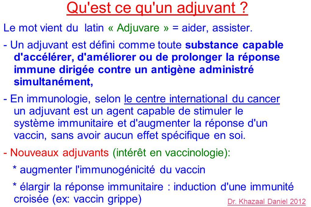Qu'est ce qu'un adjuvant ? Le mot vient du latin « Adjuvare » = aider, assister. - Un adjuvant est défini comme toute substance capable d'accélérer, d