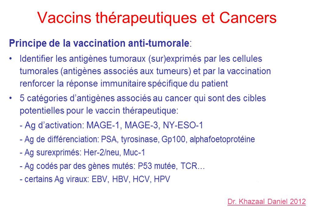 Vaccins thérapeutiques et Cancers Dr. Khazaal Daniel 2012