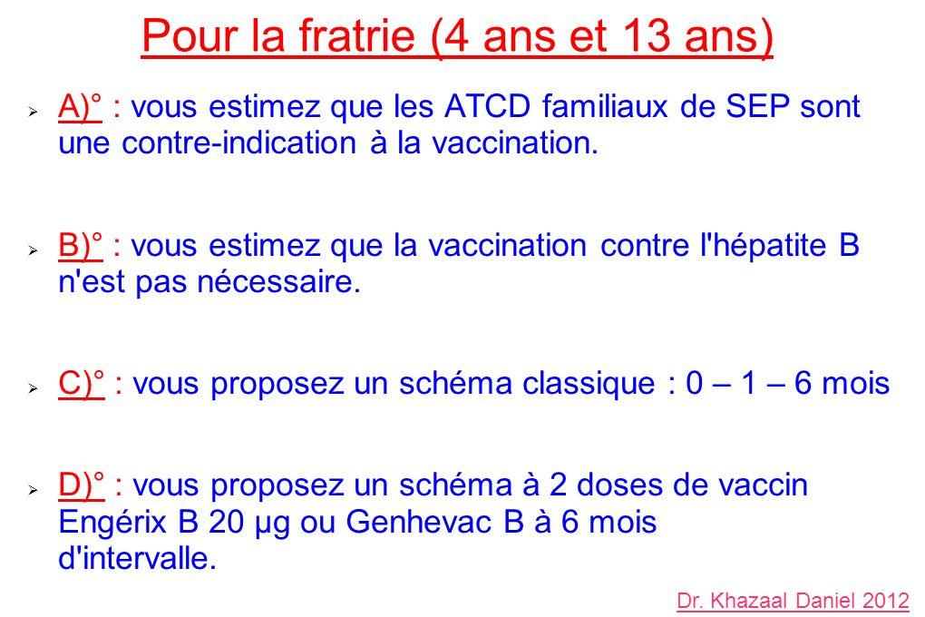 Pour la fratrie (4 ans et 13 ans) A)° : vous estimez que les ATCD familiaux de SEP sont une contre-indication à la vaccination. B)° : vous estimez que