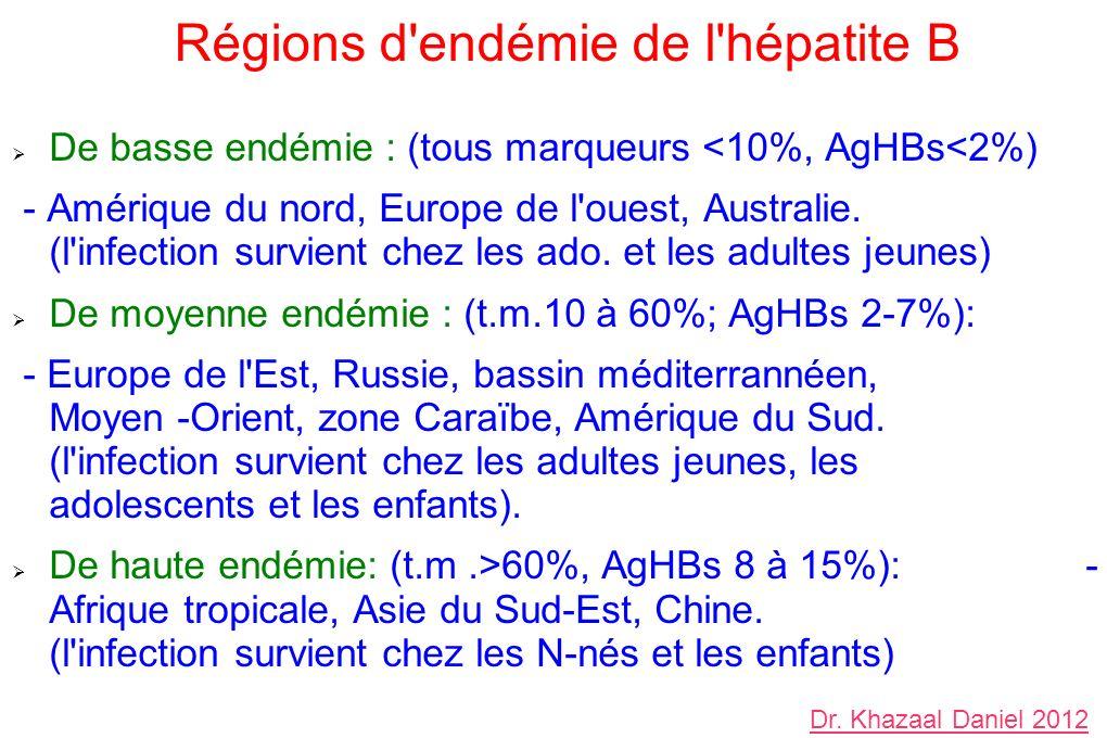 Régions d'endémie de l'hépatite B De basse endémie : (tous marqueurs <10%, AgHBs<2%) - Amérique du nord, Europe de l'ouest, Australie. (l'infection su