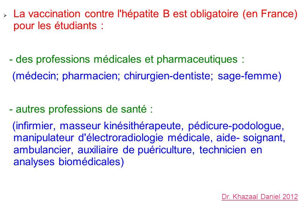 La vaccination contre l hépatite B est obligatoire (en France) pour les étudiants : - des professions médicales et pharmaceutiques : (médecin; pharmacien; chirurgien-dentiste; sage-femme) - autres professions de santé : (infirmier, masseur kinésithérapeute, pédicure-podologue, manipulateur d électroradiologie médicale, aide- soignant, ambulancier, auxiliaire de puériculture, technicien en analyses biomédicales) Dr.