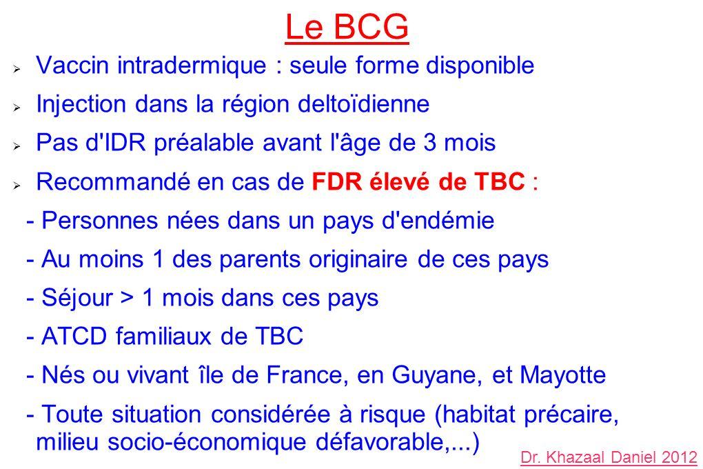 Le BCG Vaccin intradermique : seule forme disponible Injection dans la région deltoïdienne Pas d'IDR préalable avant l'âge de 3 mois Recommandé en cas