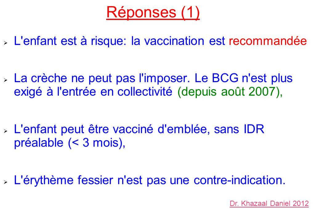 Réponses (1) L'enfant est à risque: la vaccination est recommandée La crèche ne peut pas l'imposer. Le BCG n'est plus exigé à l'entrée en collectivité