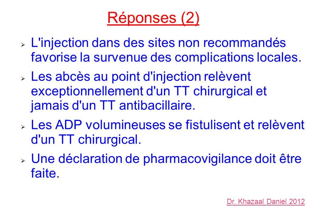 Réponses (2) L'injection dans des sites non recommandés favorise la survenue des complications locales. Les abcès au point d'injection relèvent except
