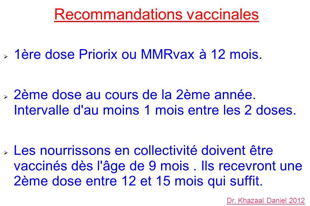 Recommandations vaccinales 1ère dose Priorix ou MMRvax à 12 mois. 2ème dose au cours de la 2ème année. Intervalle d'au moins 1 mois entre les 2 doses.