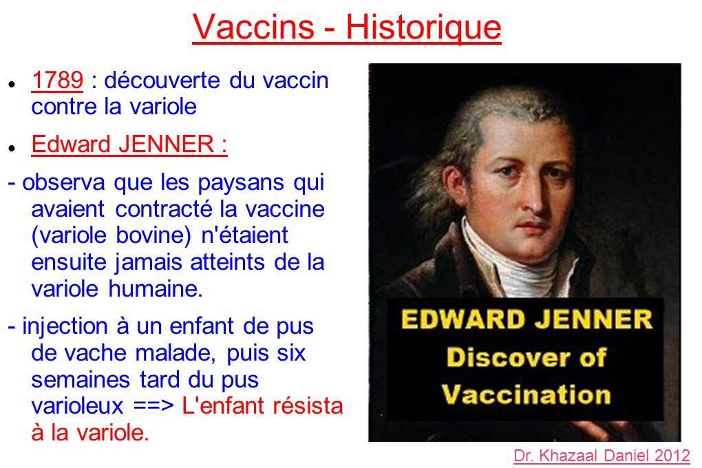 Vaccins - Historique 1789 : découverte du vaccin contre la variole Edward JENNER : - observa que les paysans qui avaient contracté la vaccine (variole