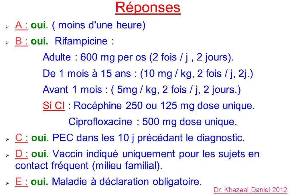 Réponses A : oui. ( moins d'une heure) B : oui. Rifampicine : Adulte : 600 mg per os (2 fois / j, 2 jours). De 1 mois à 15 ans : (10 mg / kg, 2 fois /