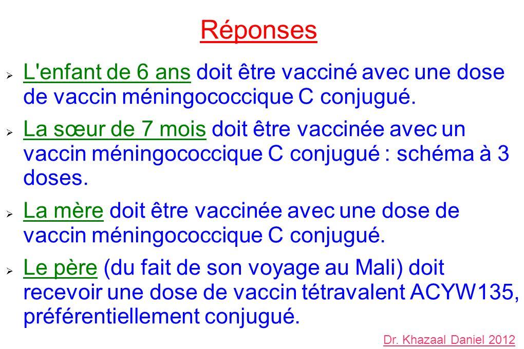 Réponses L'enfant de 6 ans doit être vacciné avec une dose de vaccin méningococcique C conjugué. La sœur de 7 mois doit être vaccinée avec un vaccin m